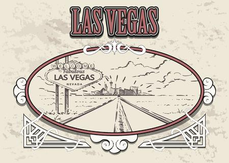 Las Vegas road with sign sketch. Las Vegas hand drawn vector illustration in vintage frame. Illustration