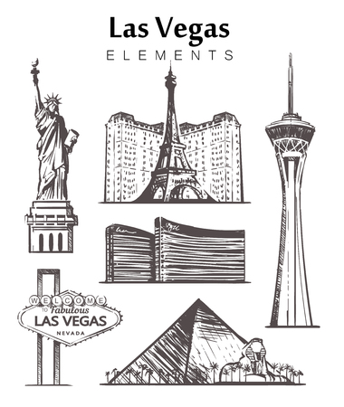 Set of hand-drawn Las Vegas buildings elements sketch vector illustration. Road sign Welcome to , Stratosphere tower, Luxor Pyramid, Statue of Liberty , Hotels, Paris . Illustration