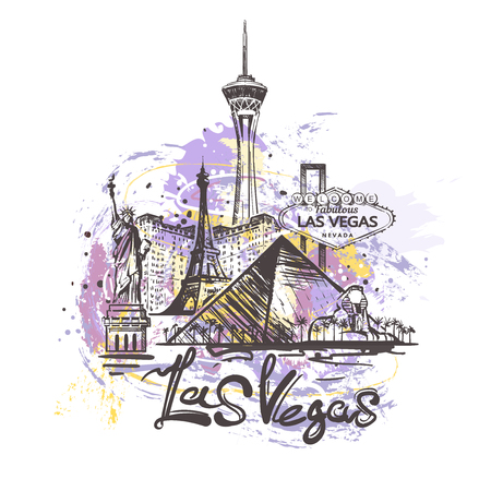 Las Vegas abstract color drawing. Las Vegas sketch vector illustration isolated on white background. Çizim