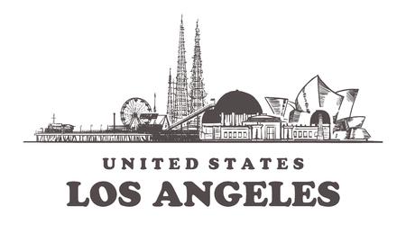 Horizonte de bosquejo de Los Ángeles. Ilustración de vector dibujado a mano de California, Los Ángeles. Aislado sobre fondo blanco. Ilustración de vector