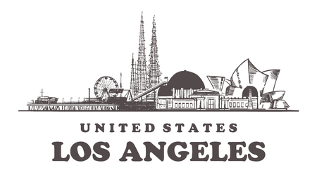 Los Angeles sketch skyline. California, Los Angeles hand drawn vector illustration. Isolated on white background.  イラスト・ベクター素材
