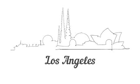 Horizonte de Los Ángeles de estilo de una línea. Vector de estilo minimalista moderno simple.
