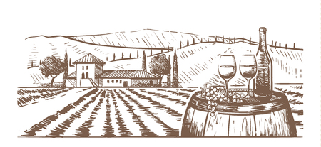Hand-drawn composition, glasses, a bottle of wine and grapes on a barrel against a rural landscape with a Villa