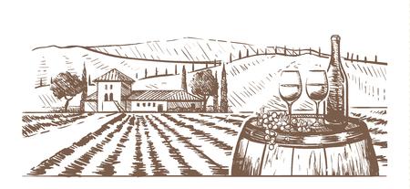 Hand-drawn composition, glasses, a bottle of wine and grapes on a barrel against a rural landscape with a Villa Ilustração Vetorial