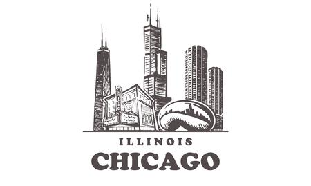 Horizon de croquis de Chicago. Illinois, Chicago illustration vectorielle dessinés à la main. Isolé sur fond blanc.