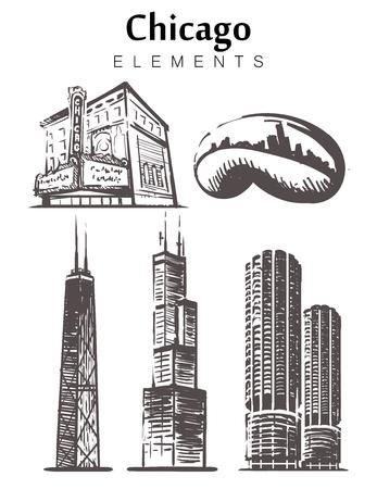 Chicago set sketch skyline. Illinois, Chicago hand drawn vector illustration. Isolated on white background.