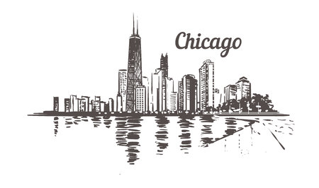 Waterfront Chicago drawn sketch. Chicago skyline isolated on white background