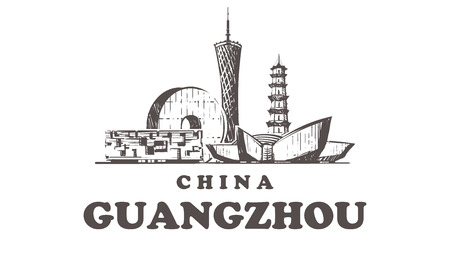 hand-drawn Guangzhou buildings elements sketch vector illustration isolated on white background
