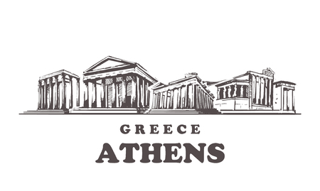 Athens sketch skyline. Greece, Athens hand drawn vector illustration. Isolated on white background. Illustration