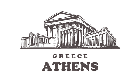 Athens sketch skyline. Greece, Athens hand drawn vector illustration. Isolated on white background.