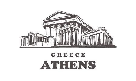 Horizonte de boceto de Atenas. Grecia, Atenas ilustración vectorial dibujada a mano. Aislado sobre fondo blanco.