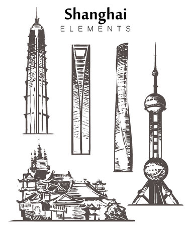 Set of hand-drawn Shanghai buildings elements sketch vector illustration. Oriental Pearl, Shanghai and Jin Mao Towers, Jingansi Temples.