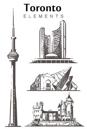 Toronto set sketch skyline. Canada, Toronto hand drawn vector illustration. Isolated on white background.