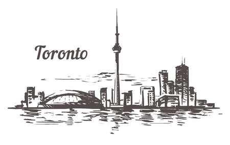 Toronto sketch skyline. Toronto, Canada hand drawn vector illustration. Isolated on white background.