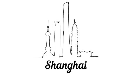 One line style Shanghai skyline. Simple modern minimaistic style vector. Isolated on white background.