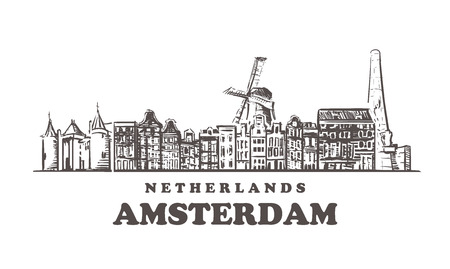 Amsterdam sketch skyline. Netherlands, Amsterdam hand drawn vector illustration. Isolated on white background. Illustration