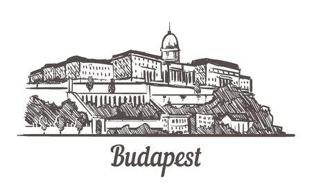Budapest skyline sketch. Budapest, Hungary hand drawn illustration isolated on white background.