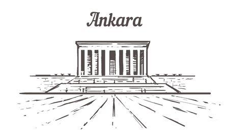 Ankara skyline sketch, An tkabir hand drawn illustration isolated on white background.