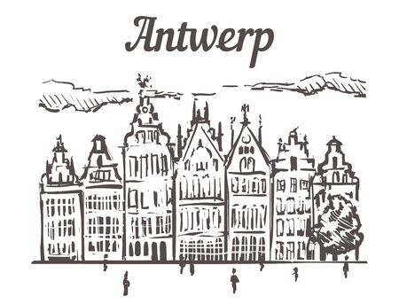 Antwerp guild buildings sketch. Antwerp, Belgium hand drawn illustration isolated on white background.
