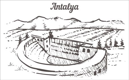 Antalya skyline sketch. The ancient city of Aspendos Antalya, Turkey hand drawn illustration isolated on white background.