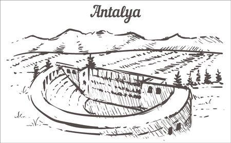 Antalya skyline sketch. The ancient city of Aspendos Antalya, Turkey hand drawn illustration isolated on white background.