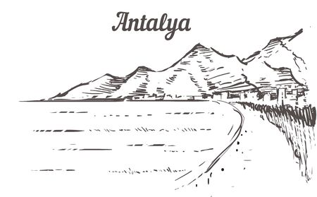 Antalya skyline sketch. Antalya, Turkey beach hand drawn illustration isolated on white background. Ilustrace