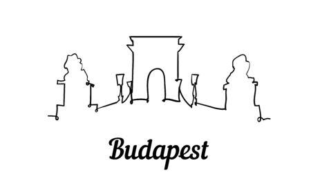 One line style Budapest skyline. Simple modern minimalistic style vector.
