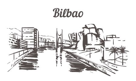 Bilbao skyline sketch. Bilbao, Spain hand drawn illustration Фото со стока