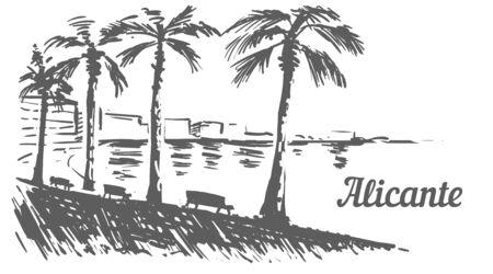 Alicante palm promenade sketch. Alicante, Spain hand drawn illustration