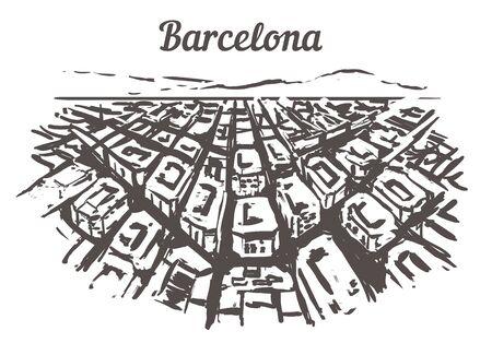Barcelona skyline sketch. Barcelona, Spain hand drawn illustration