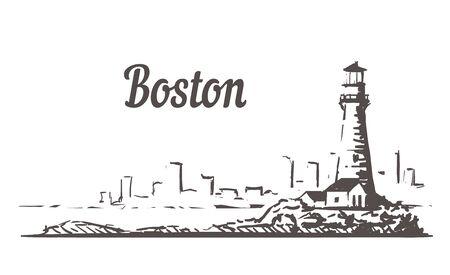 Boston skyline sketch. Boston, Massachusetts hand drawn illustration