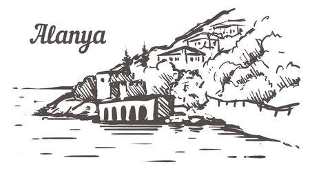 Alanya Shipyard Tersane sketch. Alanya, Turkey hand drawn illustration Фото со стока