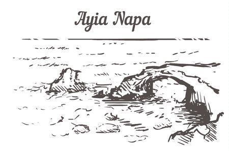 Ayia Napa skyline sketch. Ayia Napa, Cyprus hand drawn illustration