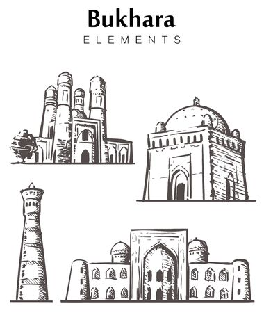 Set of hand-drawn Bukhara buildings, Bukhara elements sketch vector illustration.