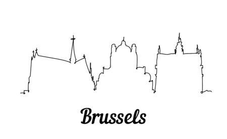 One line style Brussels skyline. Simple modern minimalistic style vector.
