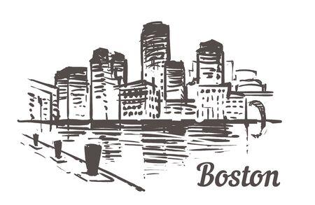 Boston skyline sketch. Boston, Massachusetts hand drawn illustration isolated on white background.