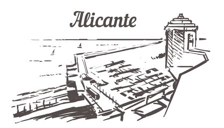 Alicante skyline sketch. Alicante, Spain sea view from the castle hand drawn illustration isolated on white background.