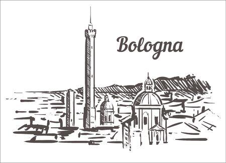Bologna skyline sketch. Bologna, Italy hand drawn illustration isolated on white background. Фото со стока