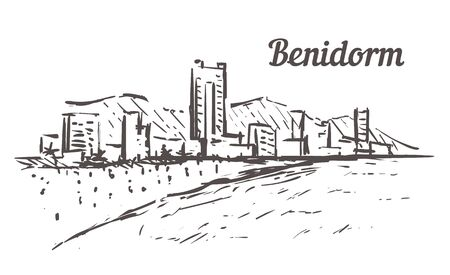 Benidorm skyline sketch. Benidorm, Spain hand drawn illustration isolated on white background.