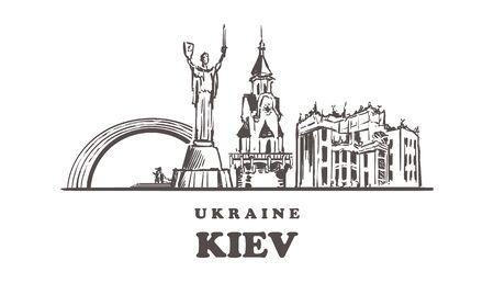 One line style Kiev skyline. Simple modern minimalistic style vector.