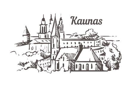 Kaunas skyline sketch. Kaunas hand drawn illustration isolated on white background.