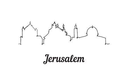 One line style Jerusalem skyline. Simple modern minimalistic style vector. Иллюстрация