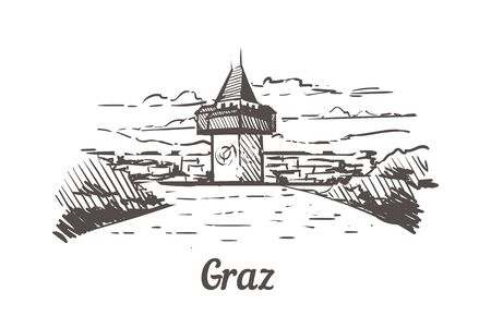 Graz skyline sketch. Graz hand drawn illustration isolated on white background.