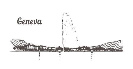 Bosquejo del horizonte de Ginebra. Ilustración de dibujado a mano de Ginebra aislada sobre fondo blanco. Ilustración de vector