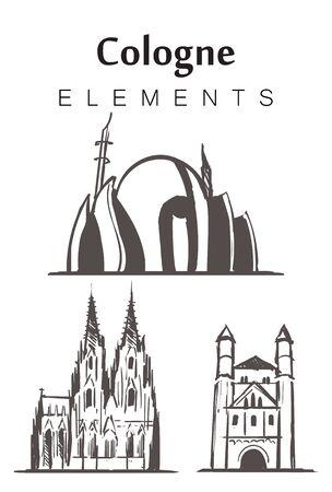 Conjunto de edificios de Colonia dibujados a mano, elementos de dibujo ilustración vectorial. Catedral, Mezquita Central, Iglesia de San Panteleimon.