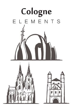 Set of hand-drawn Cologne buildings, elements sketch vector illustration. Cathedral, Central mosque, Church of St. Panteleimon.