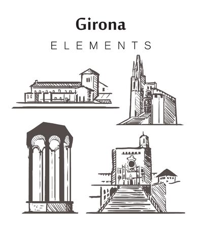 Set of hand-drawn Girona buildings, elements sketch vector illustration. Girona Cathedral, St. Philip's Church, Arab baths, St. Daniel's Monastery. 일러스트