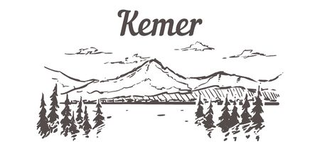 Geneva skyline sketch. Geneva hand drawn illustration isolated on white background.