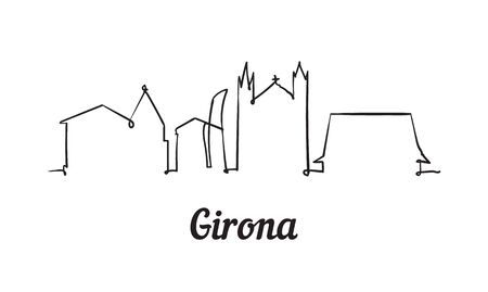 One line style Girona skyline. Simple modern minimalistic style vector. Isolated on white background.
