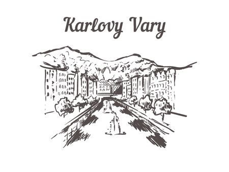 Karlovy-Vary skyline sketch. Karlovy Vary hand drawn illustration isolated on white background.